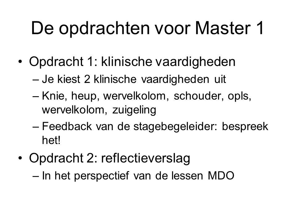 De opdrachten voor Master 1 Opdracht 1: klinische vaardigheden –Je kiest 2 klinische vaardigheden uit –Knie, heup, wervelkolom, schouder, opls, wervelkolom, zuigeling –Feedback van de stagebegeleider: bespreek het.