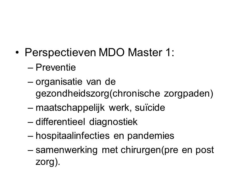 Perspectieven MDO Master 1: –Preventie –organisatie van de gezondheidszorg(chronische zorgpaden) –maatschappelijk werk, suïcide –differentieel diagnos