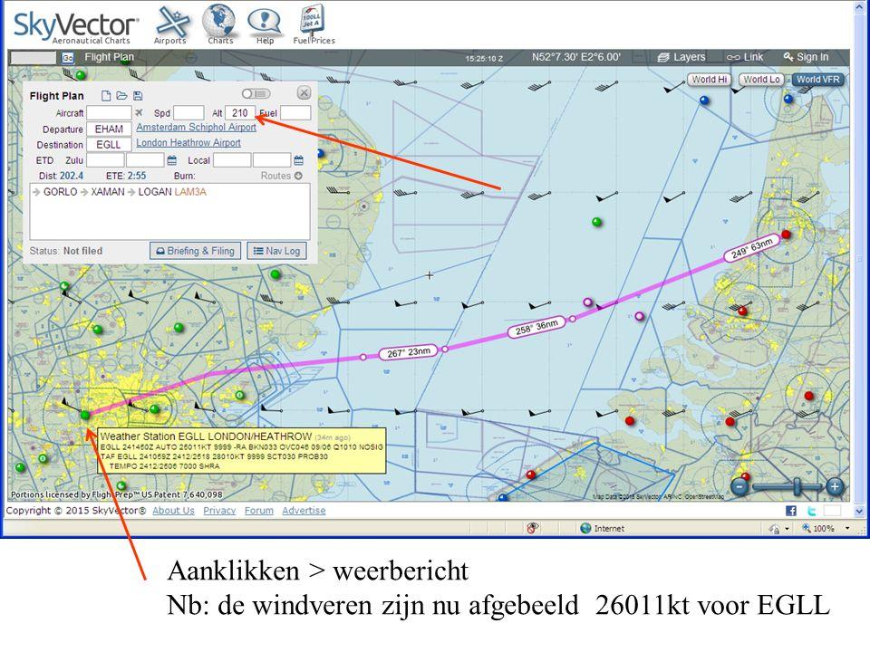 Aanklikken > weerbericht Nb: de windveren zijn nu afgebeeld 26011kt voor EGLL
