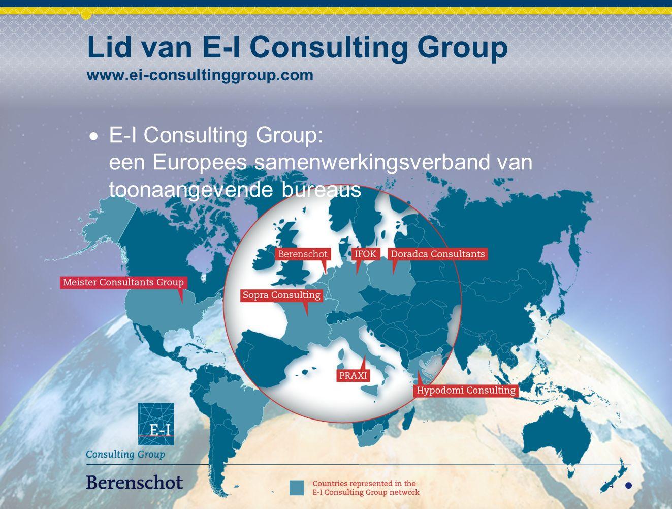 14 Lid van E-I Consulting Group www.ei-consultinggroup.com  E-I Consulting Group: een Europees samenwerkingsverband van toonaangevende bureaus