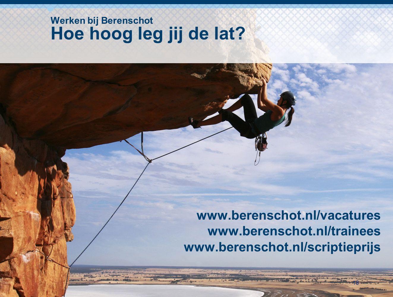 18 Werken bij Berenschot Hoe hoog leg jij de lat? www.berenschot.nl/vacatures www.berenschot.nl/trainees www.berenschot.nl/scriptieprijs