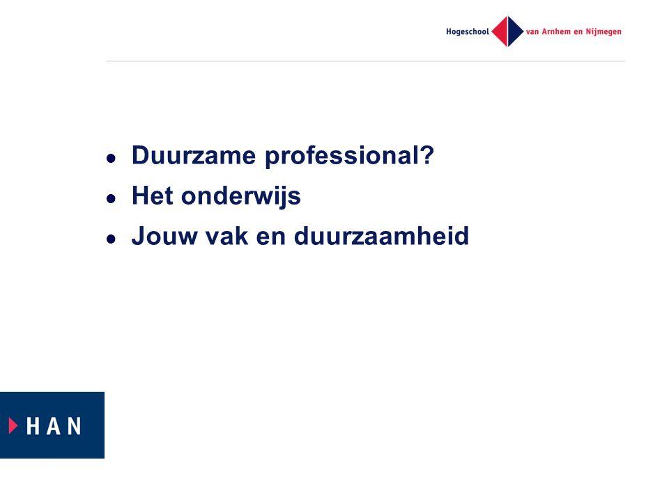Duurzame professional? Het onderwijs Jouw vak en duurzaamheid