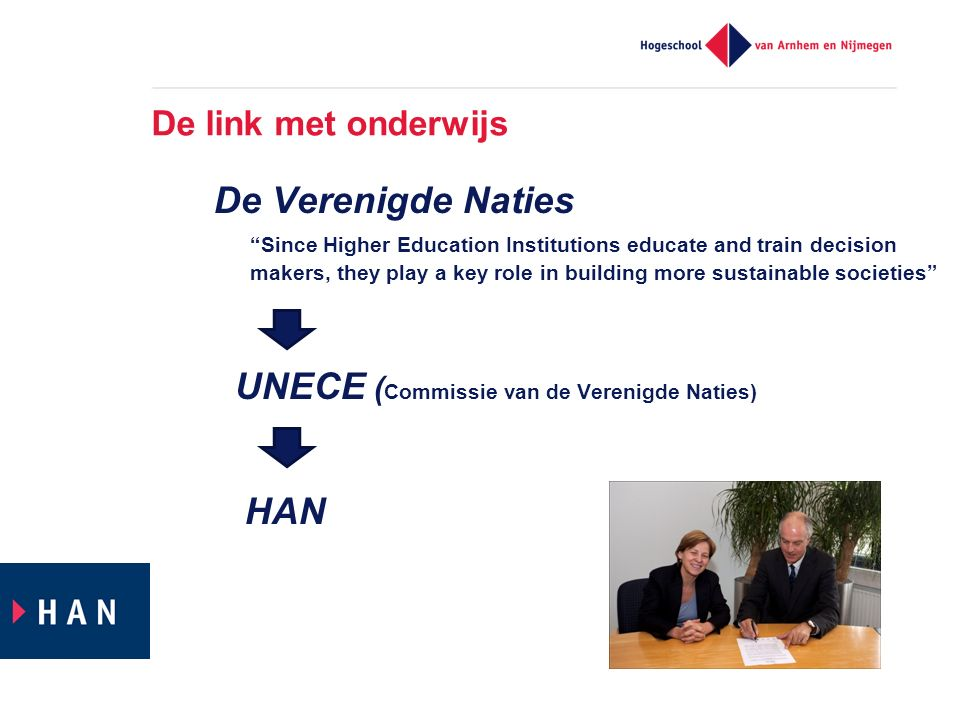 De link met onderwijs De Verenigde Naties Since Higher Education Institutions educate and train decision makers, they play a key role in building more sustainable societies UNECE ( Commissie van de Verenigde Naties) HAN