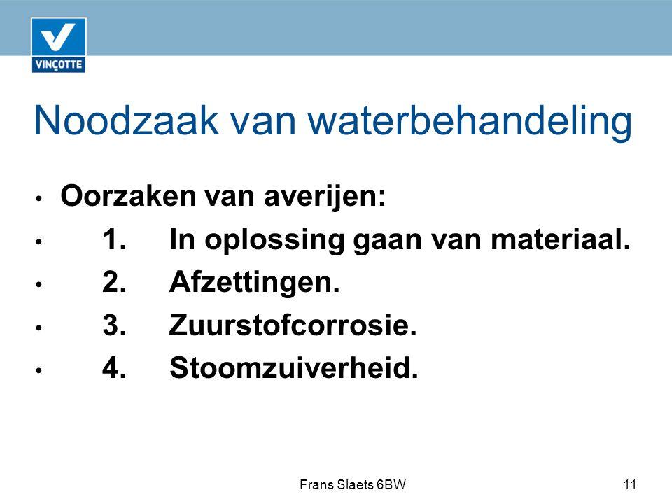 Noodzaak van waterbehandeling Oorzaken van averijen: 1.In oplossing gaan van materiaal.