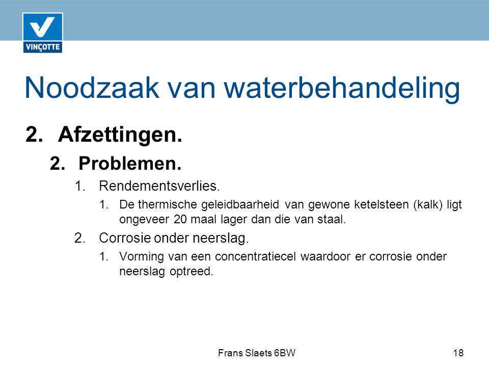Noodzaak van waterbehandeling 2.Afzettingen. 2. Problemen.