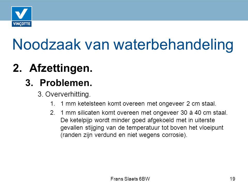 Noodzaak van waterbehandeling 2.Afzettingen. 3. Problemen.