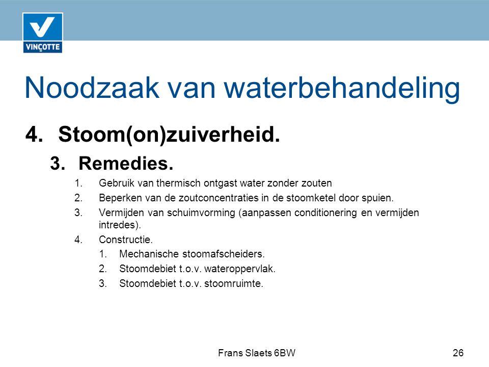 Noodzaak van waterbehandeling 4.Stoom(on)zuiverheid.