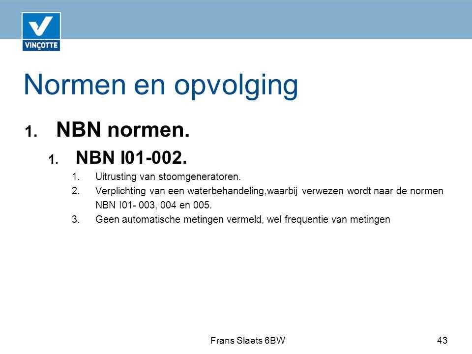 Normen en opvolging 1.NBN normen. 1. NBN I01-002.