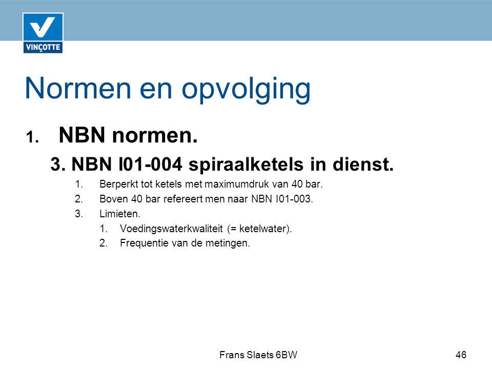 Normen en opvolging 1.NBN normen. 3. NBN I01-004 spiraalketels in dienst.