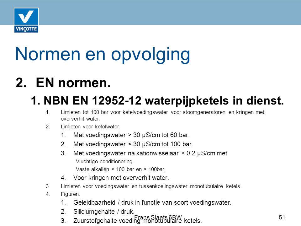Normen en opvolging 2.EN normen.1. NBN EN 12952-12 waterpijpketels in dienst.
