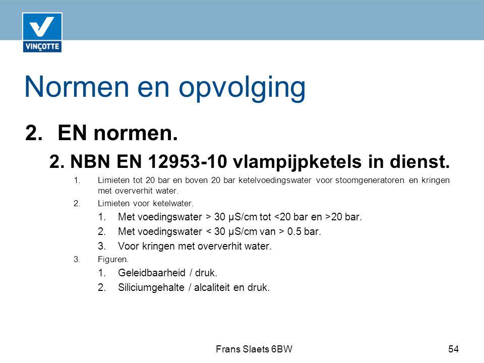 Normen en opvolging 2.EN normen.2. NBN EN 12953-10 vlampijpketels in dienst.