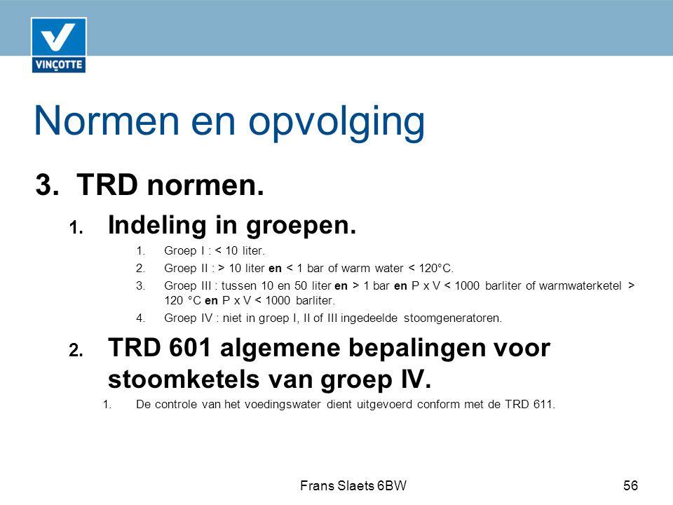 Normen en opvolging 3.TRD normen. 1. Indeling in groepen.