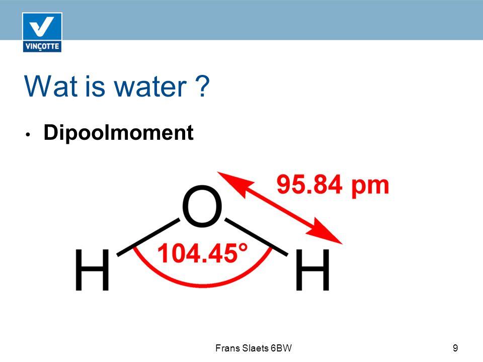 Wat is water ? Dipoolmoment Frans Slaets 6BW9
