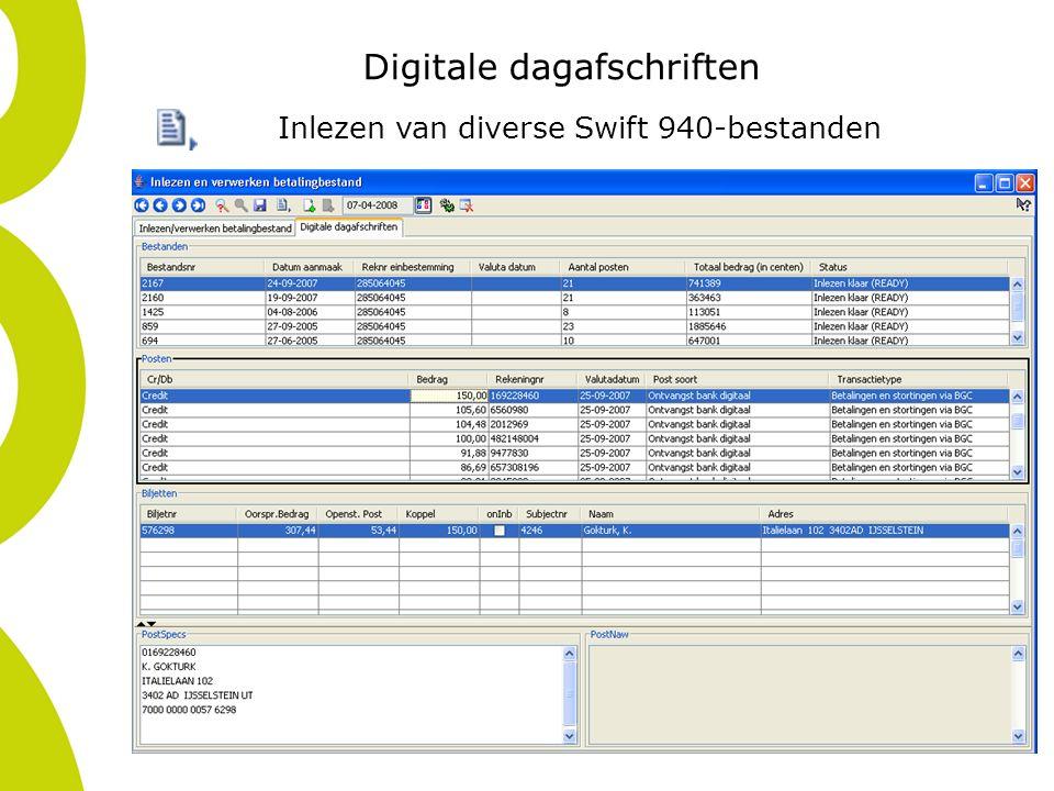 Digitale dagafschriften Inlezen van diverse Swift 940-bestanden