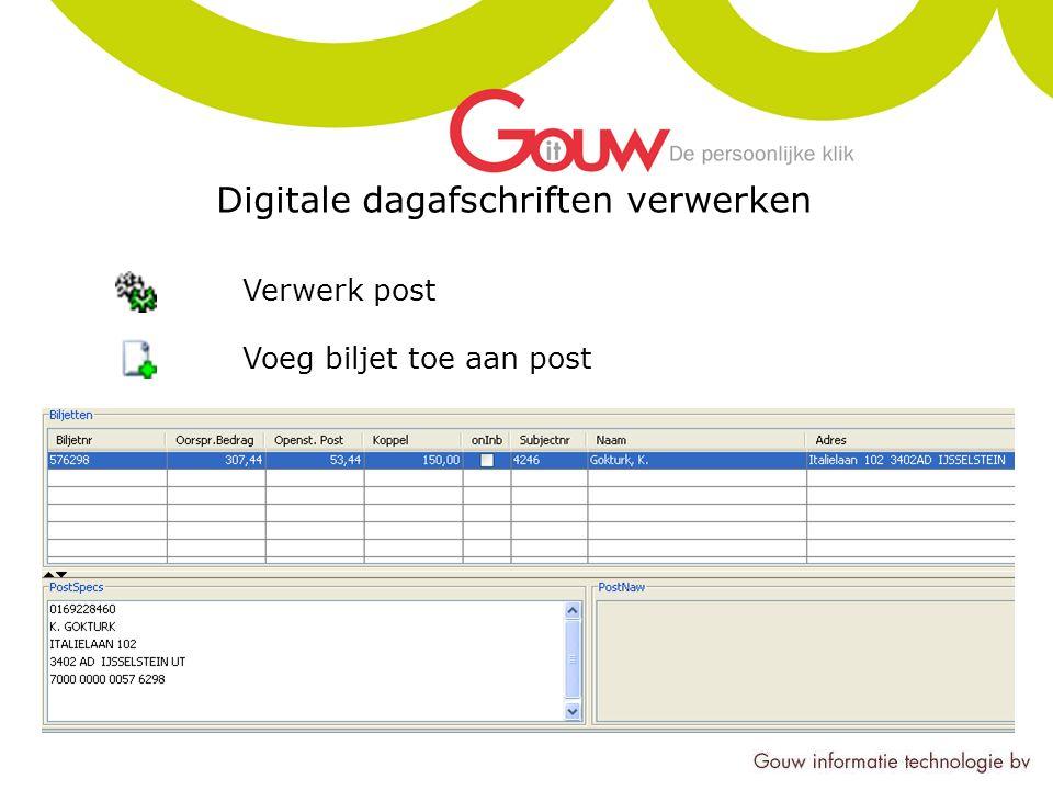 Digitale dagafschriften verwerken Verwerk post Voeg biljet toe aan post