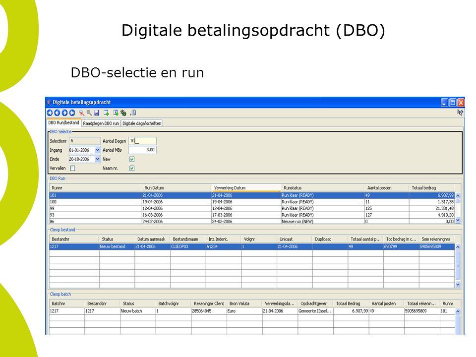 Digitale betalingsopdracht (DBO) DBO-selectie en run