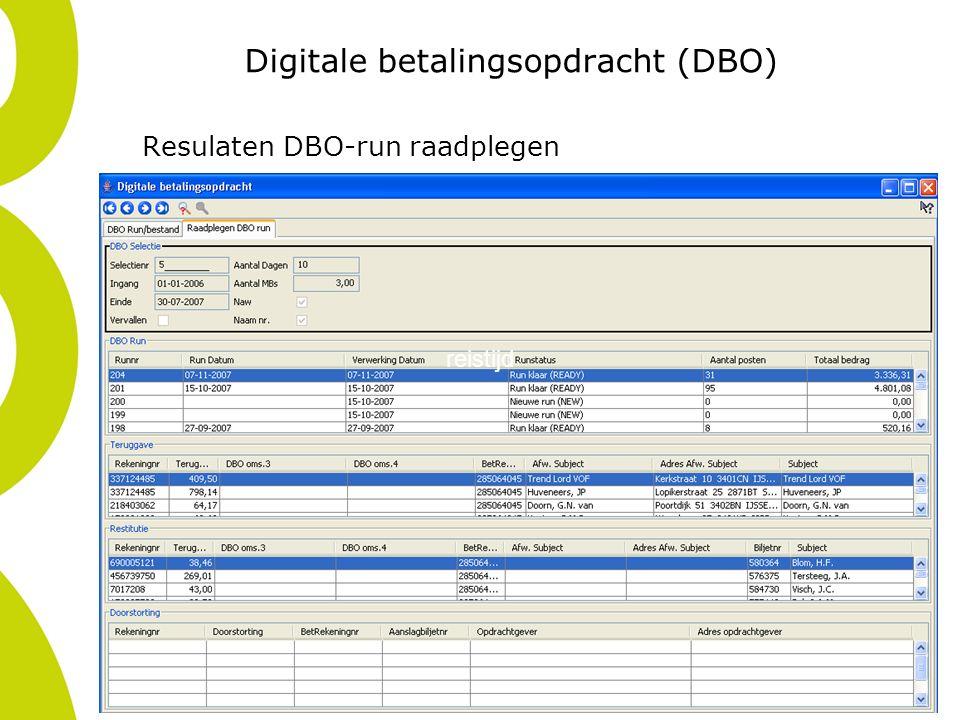 Digitale betalingsopdracht (DBO) Resulaten DBO-run raadplegen reistijd