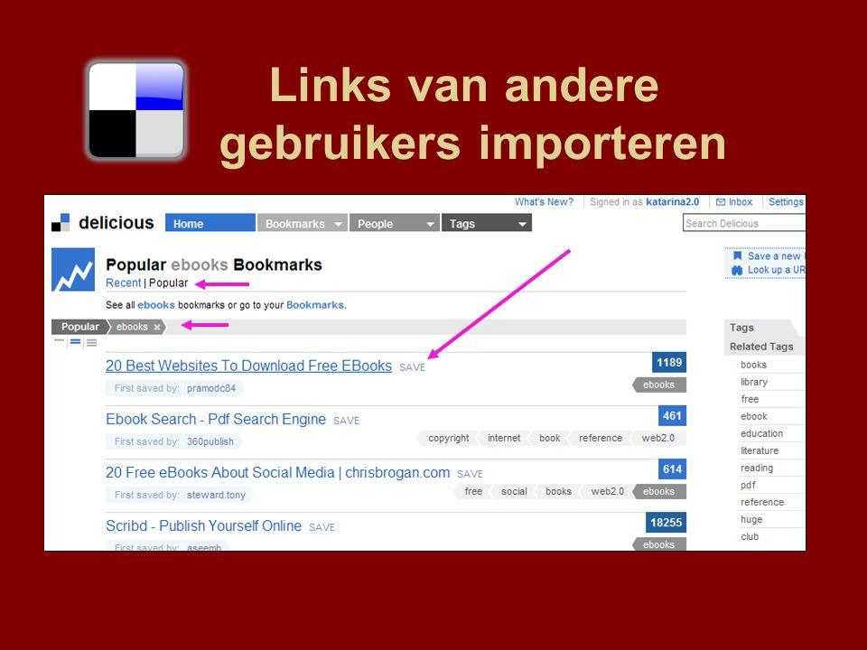 Links van andere gebruikers importeren