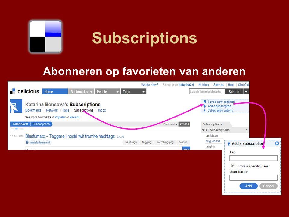 Subscriptions Abonneren op favorieten van anderen
