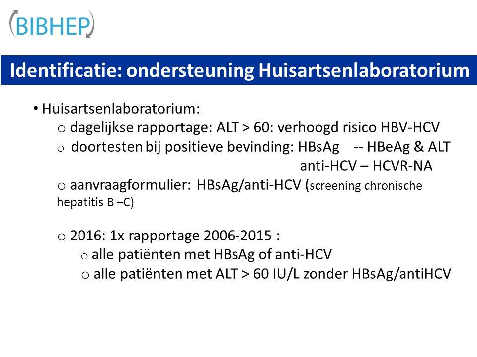 Identificatie: ondersteuning Huisartsenlaboratorium Huisartsenlaboratorium: o dagelijkse rapportage: ALT > 60: verhoogd risico HBV-HCV o doortesten bij positieve bevinding: HBsAg -- HBeAg & ALT anti-HCV – HCVR-NA o aanvraagformulier: HBsAg/anti-HCV ( screening chronische hepatitis B –C) o 2016: 1x rapportage 2006-2015 : o alle patiënten met HBsAg of anti-HCV o alle patiënten met ALT > 60 IU/L zonder HBsAg/antiHCV