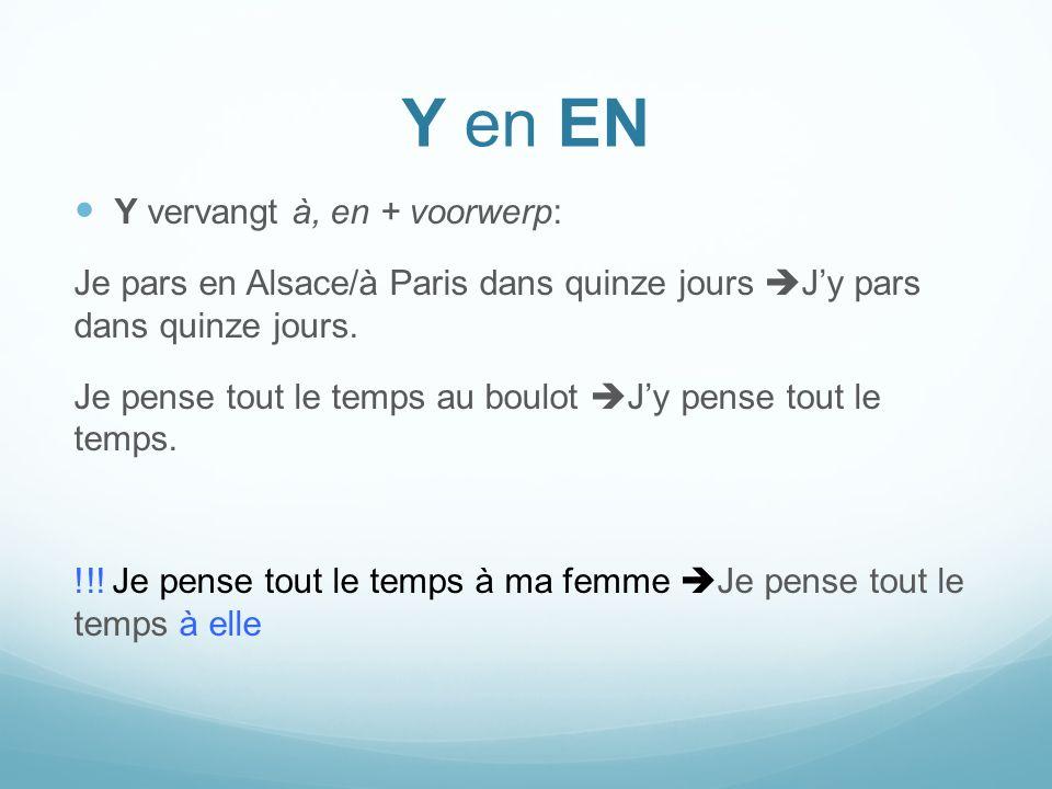 Y en EN Y vervangt à, en + voorwerp: Je pars en Alsace/à Paris dans quinze jours Jy pars dans quinze jours. Je pense tout le temps au boulot Jy pense