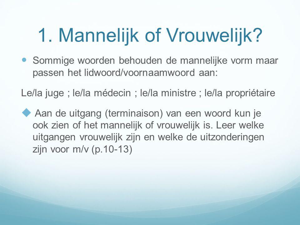 1. Mannelijk of Vrouwelijk? Sommige woorden behouden de mannelijke vorm maar passen het lidwoord/voornaamwoord aan: Le/la juge ; le/la médecin ; le/la