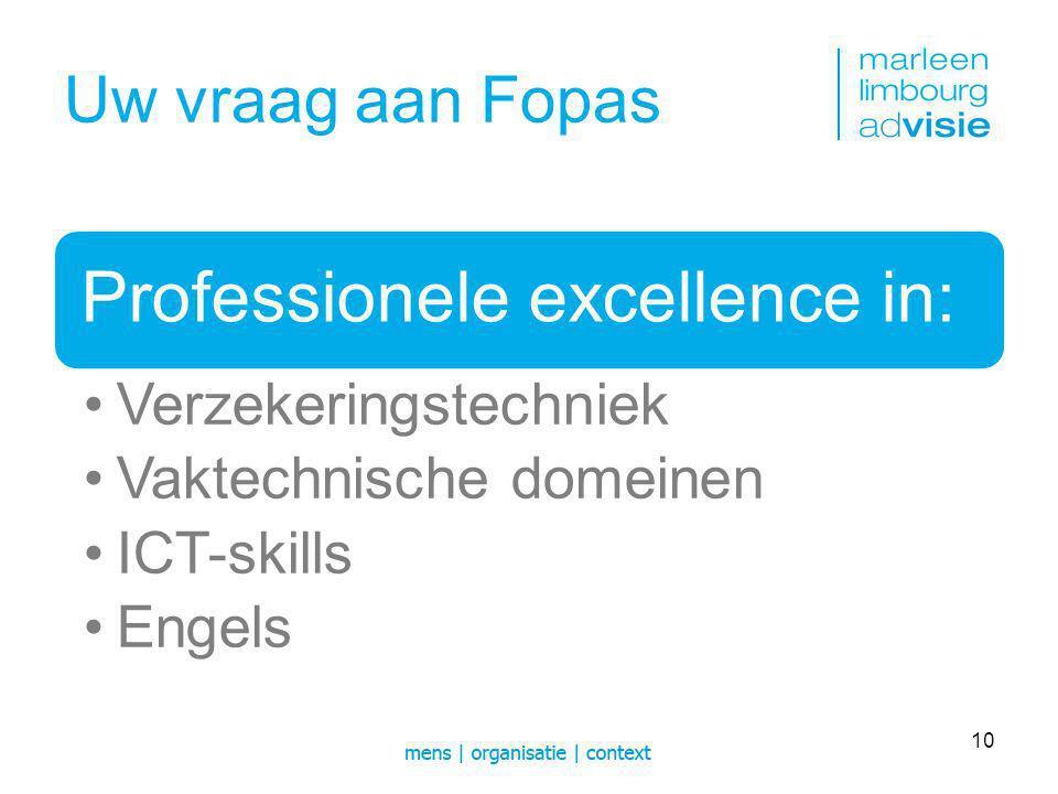 Uw vraag aan Fopas Management excellence in: Leiderschap Professioneel management Proces management Project management 11