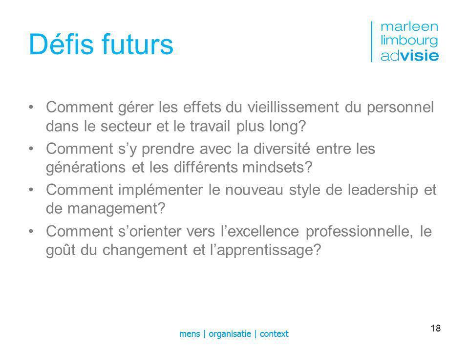 Défis futurs Comment gérer les effets du vieillissement du personnel dans le secteur et le travail plus long.
