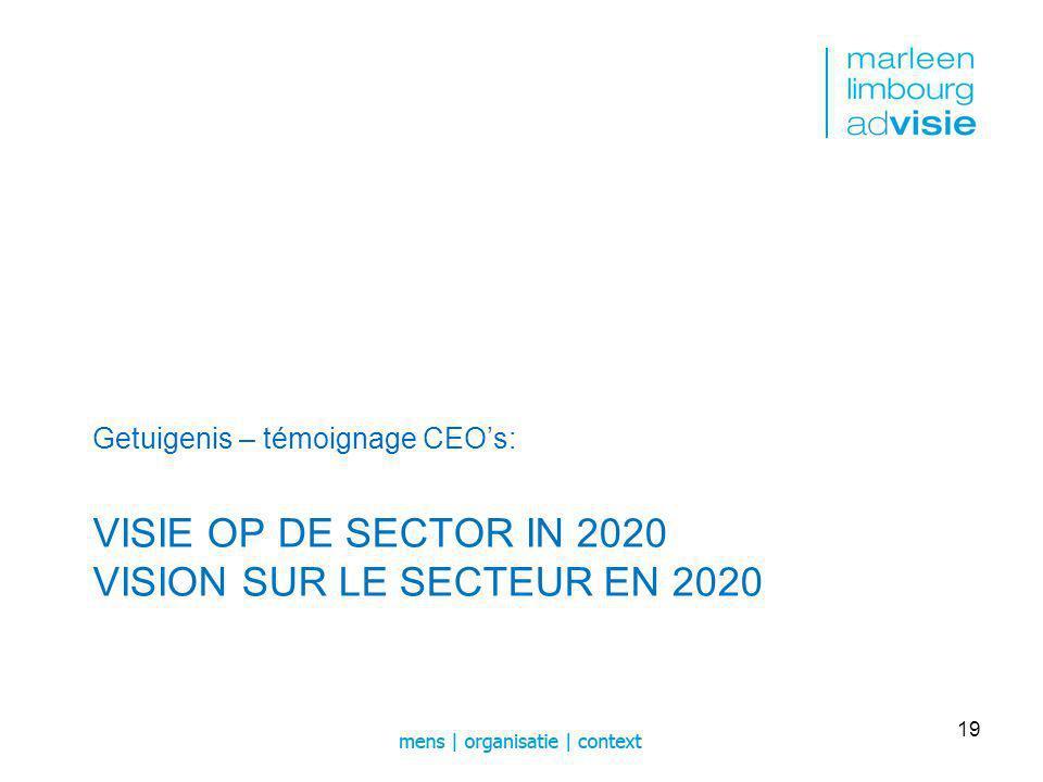 VISIE OP DE SECTOR IN 2020 VISION SUR LE SECTEUR EN 2020 Getuigenis – témoignage CEOs: 19