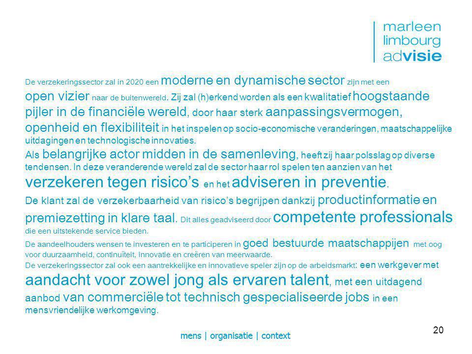 20 De verzekeringssector zal in 2020 een moderne en dynamische sector zijn met een open vizier naar de buitenwereld.