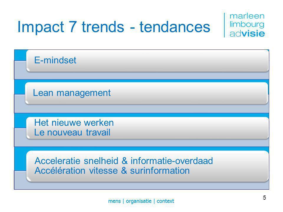 Impact 7 trends - tendances E-mindsetLean management Het nieuwe werken Le nouveau travail Acceleratie snelheid & informatie-overdaad Accélération vitesse & surinformation 5