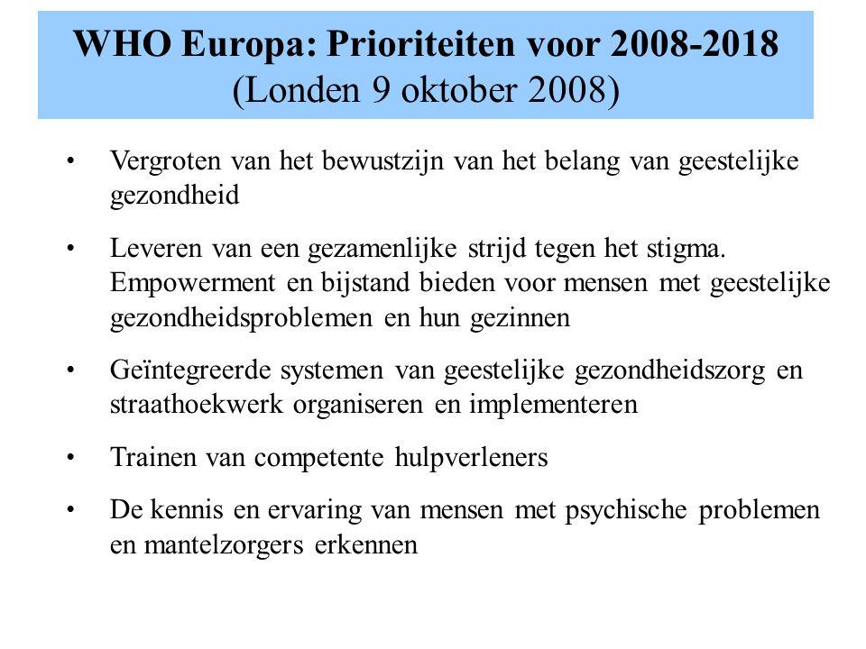 WHO Europa: Prioriteiten voor 2008-2018 (Londen 9 oktober 2008) Vergroten van het bewustzijn van het belang van geestelijke gezondheid Leveren van een gezamenlijke strijd tegen het stigma.