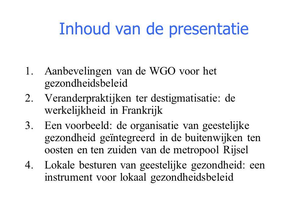 Inhoud van de presentatie 1.Aanbevelingen van de WGO voor het gezondheidsbeleid 2.Veranderpraktijken ter destigmatisatie: de werkelijkheid in Frankrij