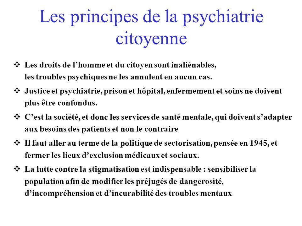 Les principes de la psychiatrie citoyenne Les droits de lhomme et du citoyen sont inaliénables, les troubles psychiques ne les annulent en aucun cas.