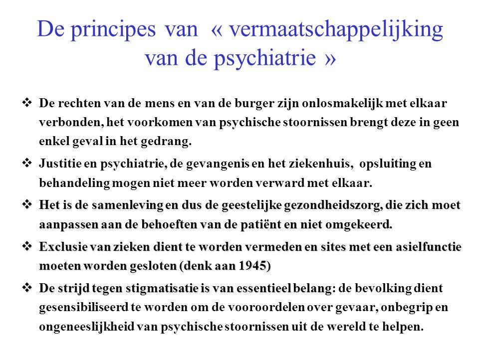 De principes van « vermaatschappelijking van de psychiatrie » De rechten van de mens en van de burger zijn onlosmakelijk met elkaar verbonden, het voorkomen van psychische stoornissen brengt deze in geen enkel geval in het gedrang.