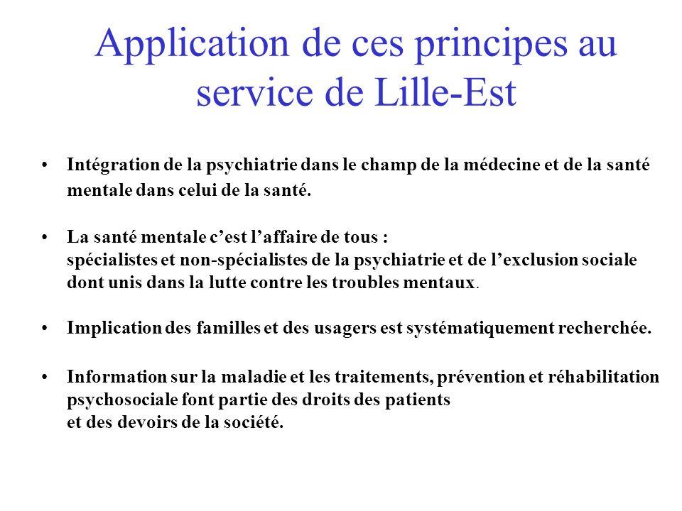 Application de ces principes au service de Lille-Est Intégration de la psychiatrie dans le champ de la médecine et de la santé mentale dans celui de la santé.
