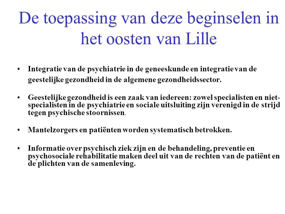 De toepassing van deze beginselen in het oosten van Lille Integratie van de psychiatrie in de geneeskunde en integratie van de geestelijke gezondheid in de algemene gezondheidssector.