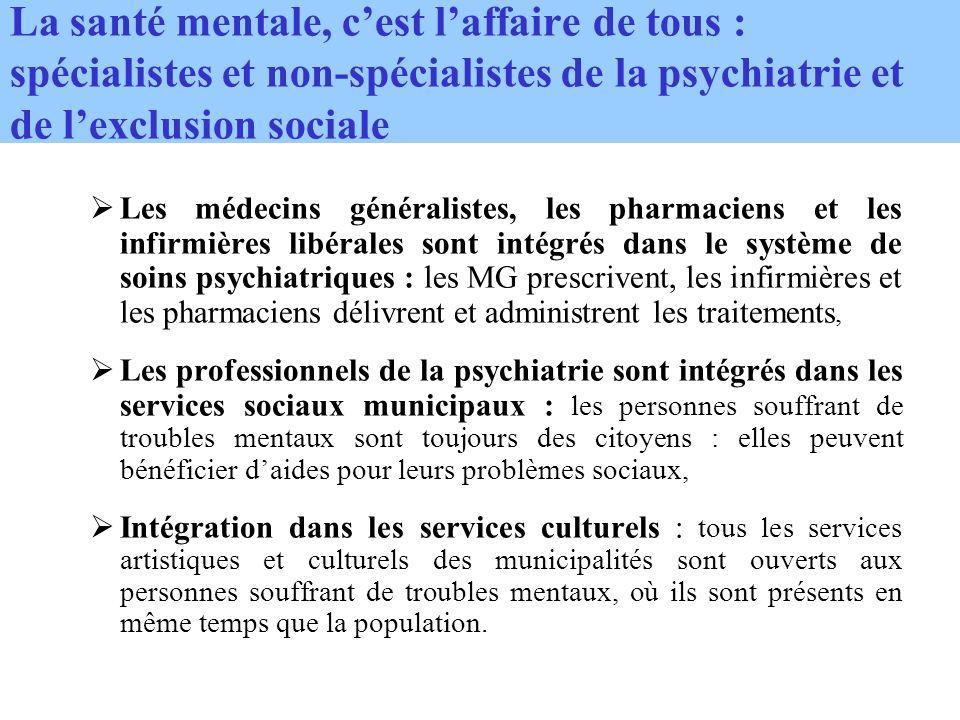 La santé mentale, cest laffaire de tous : spécialistes et non-spécialistes de la psychiatrie et de lexclusion sociale Les médecins généralistes, les pharmaciens et les infirmières libérales sont intégrés dans le système de soins psychiatriques : les MG prescrivent, les infirmières et les pharmaciens délivrent et administrent les traitements, Les professionnels de la psychiatrie sont intégrés dans les services sociaux municipaux : les personnes souffrant de troubles mentaux sont toujours des citoyens : elles peuvent bénéficier daides pour leurs problèmes sociaux, Intégration dans les services culturels : tous les services artistiques et culturels des municipalités sont ouverts aux personnes souffrant de troubles mentaux, où ils sont présents en même temps que la population.