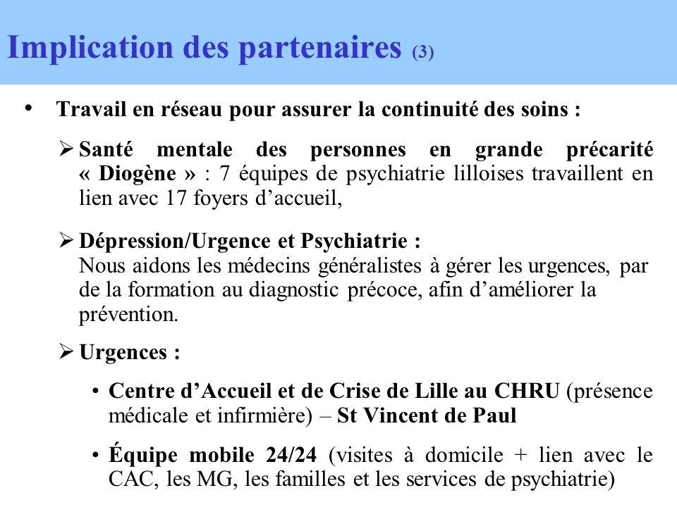 Travail en réseau pour assurer la continuité des soins : Santé mentale des personnes en grande précarité « Diogène » : 7 équipes de psychiatrie lilloi