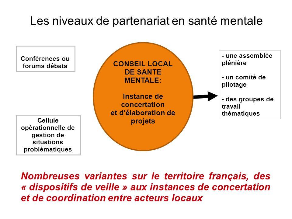 Les niveaux de partenariat en santé mentale Conférences ou forums débats Cellule opérationnelle de gestion de situations problématiques Nombreuses var