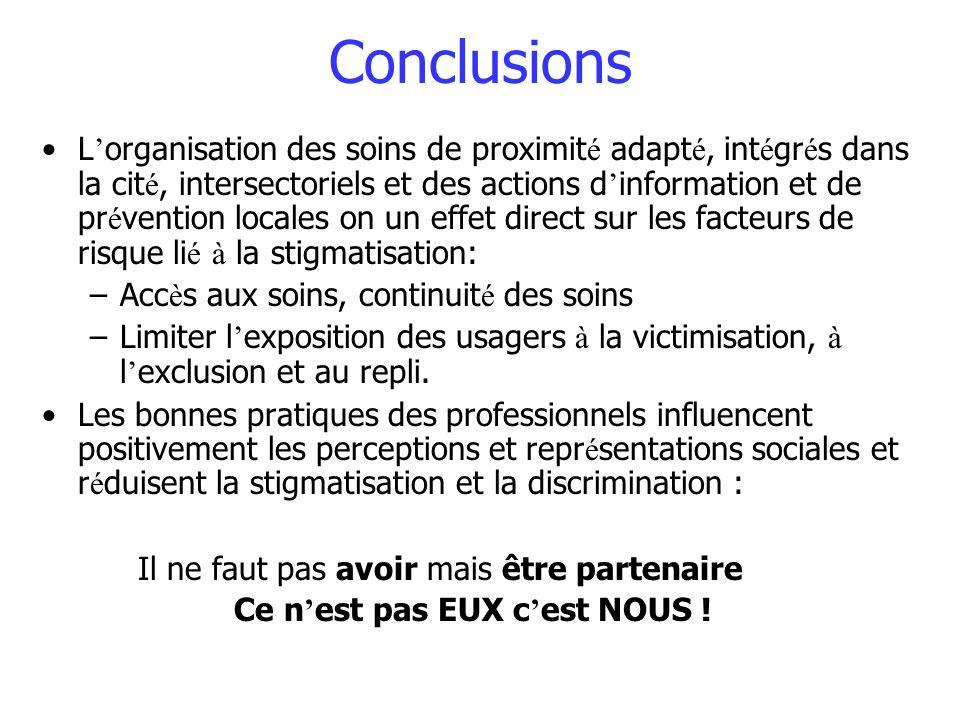 Conclusions L organisation des soins de proximit é adapt é, int é gr é s dans la cit é, intersectoriels et des actions d information et de pr é ventio