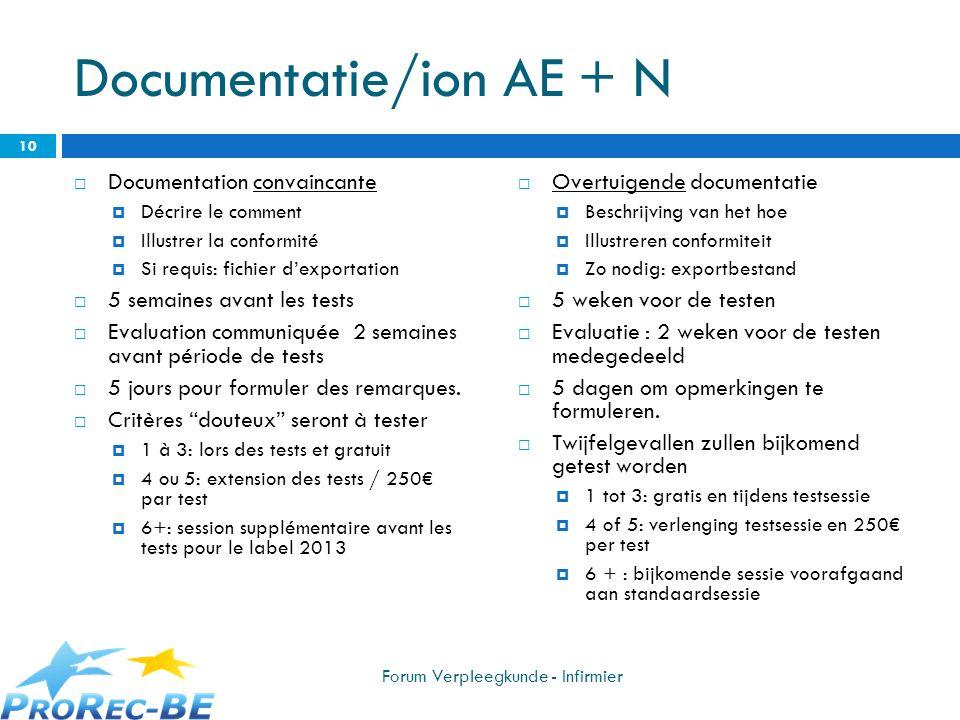 Documentatie/ion AE + N Documentation convaincante Décrire le comment Illustrer la conformité Si requis: fichier dexportation 5 semaines avant les tes