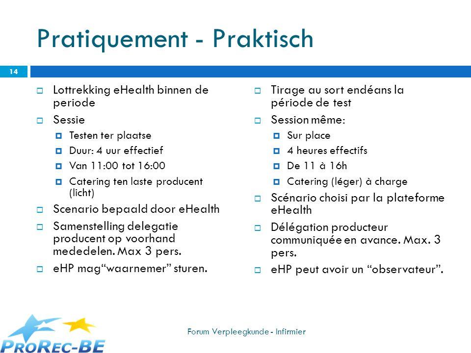Pratiquement - Praktisch Lottrekking eHealth binnen de periode Sessie Testen ter plaatse Duur: 4 uur effectief Van 11:00 tot 16:00 Catering ten laste