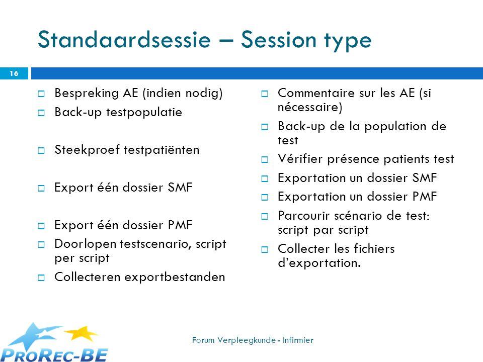 Standaardsessie – Session type Bespreking AE (indien nodig) Back-up testpopulatie Steekproef testpatiënten Export één dossier SMF Export één dossier P