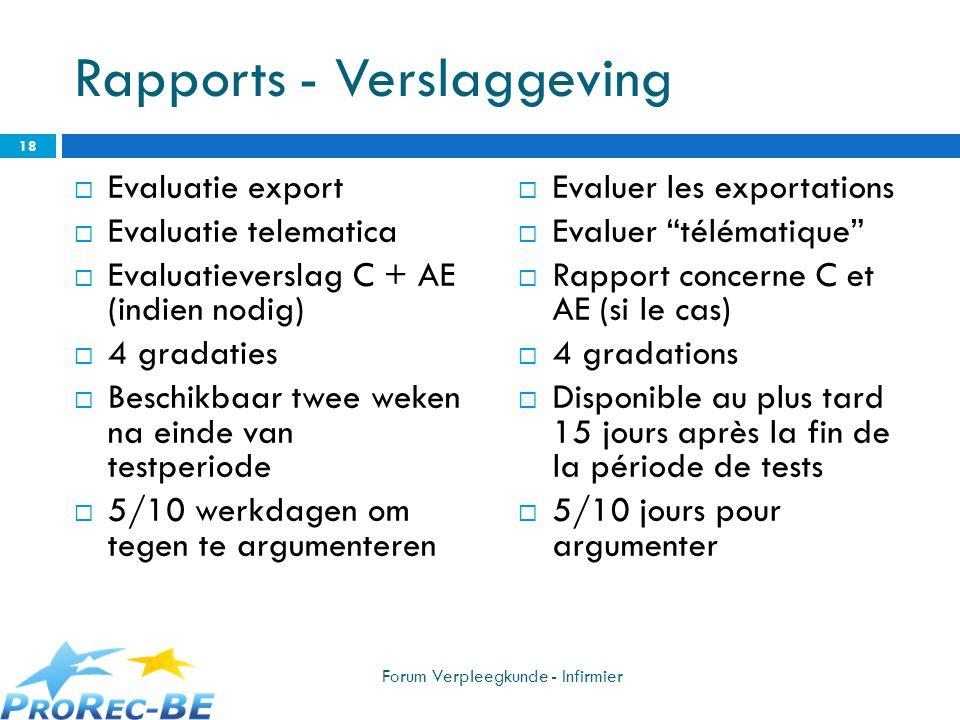 Rapports - Verslaggeving Evaluatie export Evaluatie telematica Evaluatieverslag C + AE (indien nodig) 4 gradaties Beschikbaar twee weken na einde van