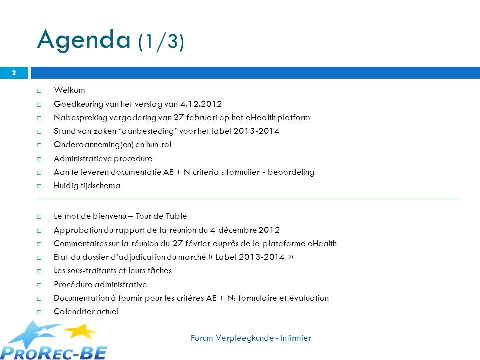 Agenda (1/3) Welkom Goedkeuring van het verslag van 4.12.2012 Nabespreking vergadering van 27 februari op het eHealth platform Stand van zaken aanbest