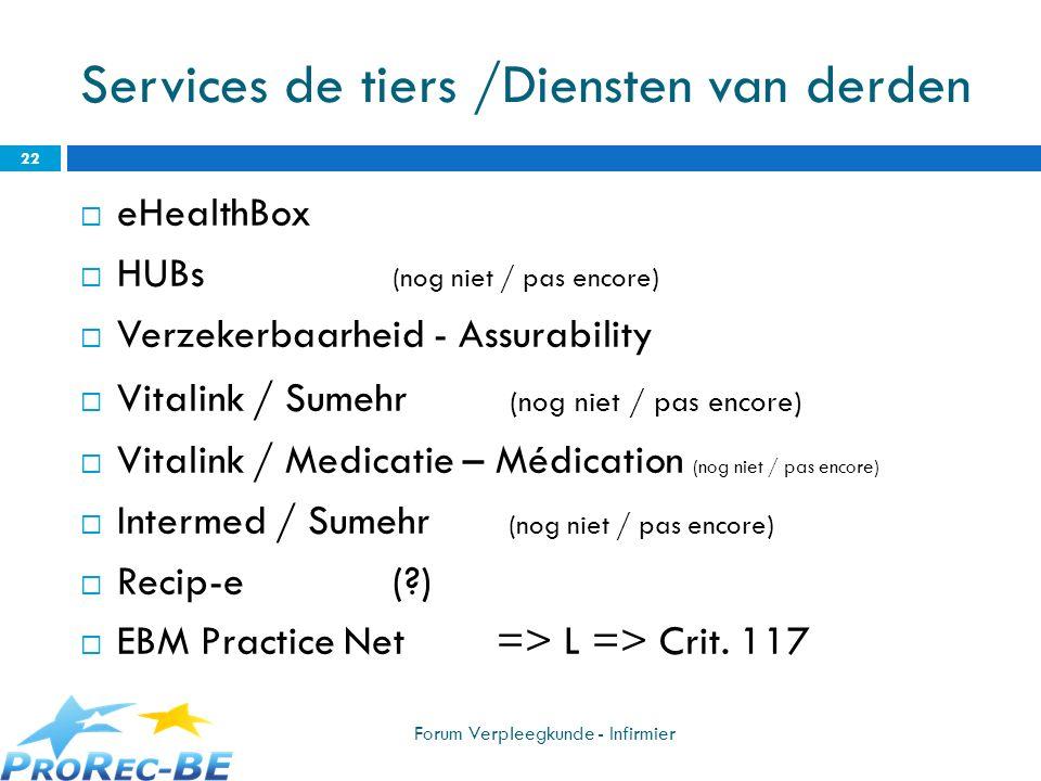 Services de tiers /Diensten van derden eHealthBox HUBs (nog niet / pas encore) Verzekerbaarheid - Assurability Vitalink / Sumehr (nog niet / pas encor