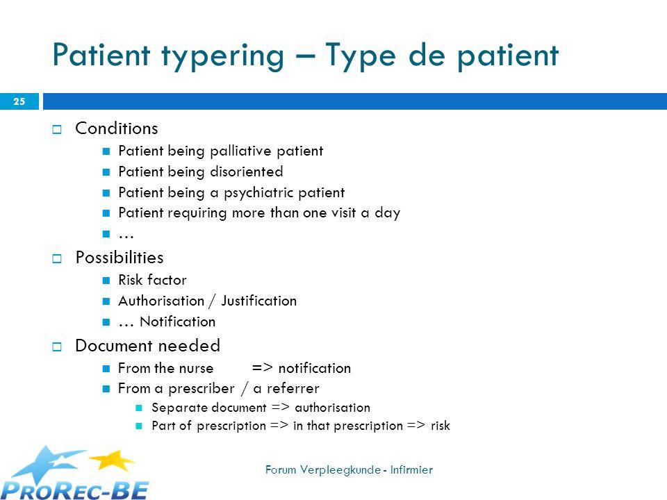 Patient typering – Type de patient Conditions Patient being palliative patient Patient being disoriented Patient being a psychiatric patient Patient r