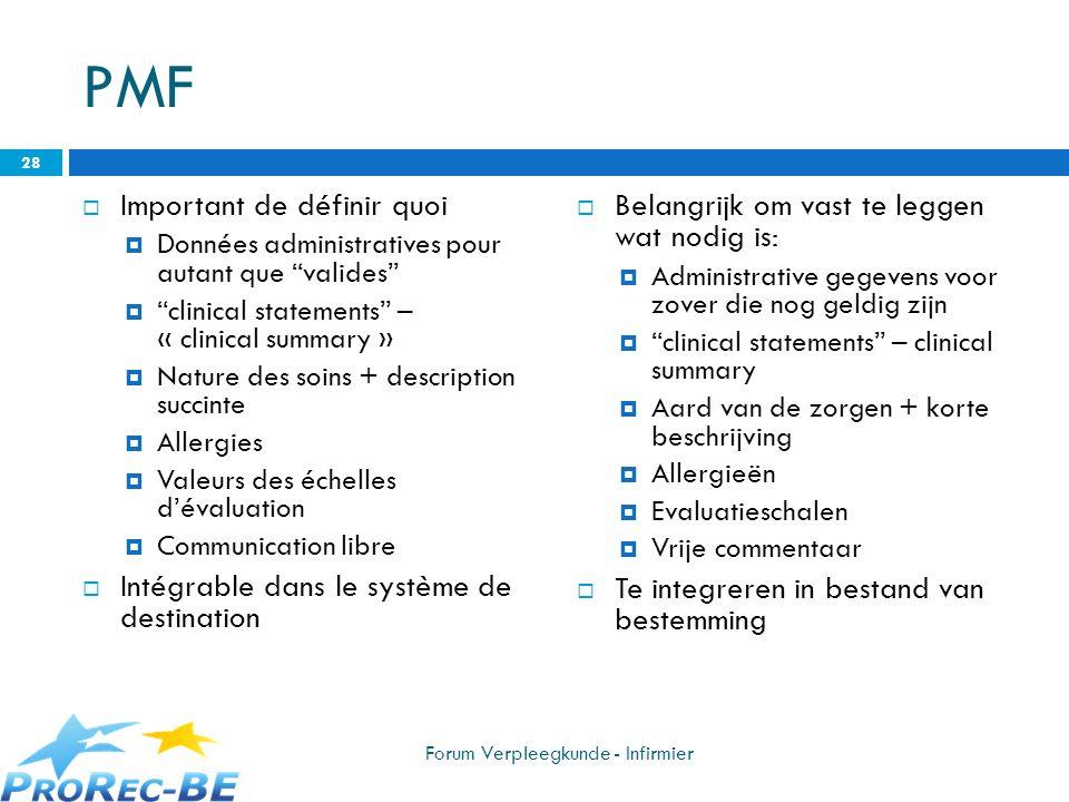 PMF Important de définir quoi Données administratives pour autant que valides clinical statements – « clinical summary » Nature des soins + descriptio