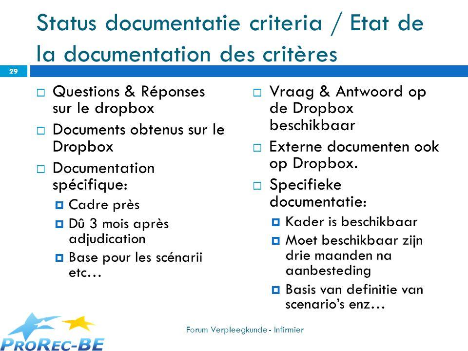 Status documentatie criteria / Etat de la documentation des critères Questions & Réponses sur le dropbox Documents obtenus sur le Dropbox Documentatio